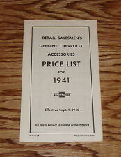 1941 Chevrolet Car & Truck Accessory Listing & Prices 41 Chevy
