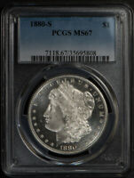 1880-S $1 MORGAN Silver Dollar - FROSTY - PERFECT REVERSE * PCGS MS67 #J825