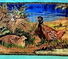 "Vintage Pheasant Quail Velvet Tapestry Wall Hanging Rug 38"" x 20"""
