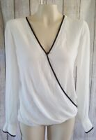 H&M Conscious White Blouse Top Long Sleeve Womens Size 12