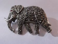 HALLMARKED SILVER AND MARCASITE  ELEPHANT BROOCH