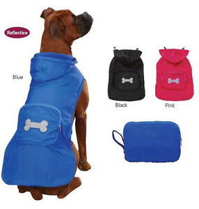 Dog Stowaway Jacket Coat Fleece Lined Black Pink  Blue Rain Raincoat XXS-XL