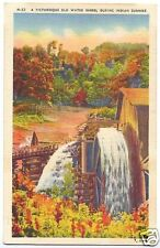 Linen Postcard Old Water Wheel in Fall North Carolina