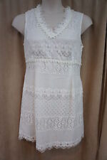 "Nine West Dress Sz 8 Ivory ""Urban Nomad"" Eyelet Fringe Hem Casual Party dress"