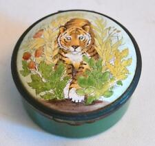 Bilston and Battersea English Enamels Large Tiger Trinket Box