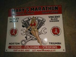 "Porcelain Mary's Marathon Enamel Sign Size 15 "" x 12 "" Inches Pre-Owned"