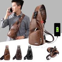 Mens Black Leather Crossbody Bag Single Shoulder Bag USB Sports Chest Casual Bag