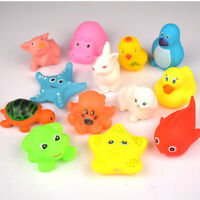 13 pcs Animals Kids Toys Soft Rubber Float Sqeeze Sound Baby Wash Bath Play HOT