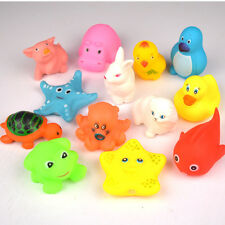 13 pcs Animals Kids Toys Soft Rubber Float Sqeeze Sound Baby Wash Bath Play HOT