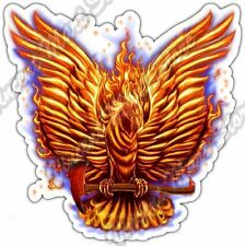 "Fire Bird Firefighter Axe Flames Phoenix Car Bumper Vinyl Sticker Decal 4""X5"""