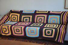 Plaid patchwork en laine vintage réalisé au crochet ( fait main ).70 's