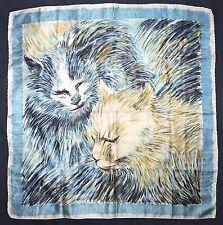 Vintage VETTER Designer Artist Paint PERSIAN Cats Blue Yellow Satin Silk Scarf