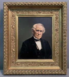 19thC Antique VICTORIAN Era GENTLEMAN Oil PORTRAIT PAINTING Old GESSO FRAME