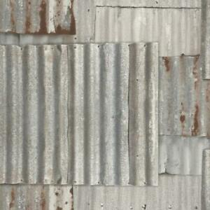 Rasch Iron Corrugated Sheet Rust Grey/Red Wallpaper 212600