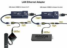 Amazon Fire Stick ETHERNET ADAPTER PLUS USB OTG cable REDUCE BUFFERING, Xlent