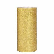 6 Inch Sparkling Tulle Ribbon Roll Glitter Spool, 25 Yards, Gold
