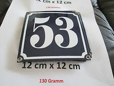 Hausnummer Emaille Nr. 53 weisse Zahl auf blauem Hintergrund 12 cm x 12 cm