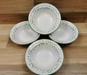 "4 x Vintage Summer Fruit Wild Strawberry 7"" Stoneware Cereal Bowls"