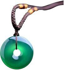 Collar de cuerda con colgante de jade natural de color verde, para mujer o