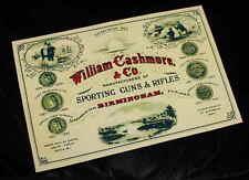 William Cashmore Gunmaker riproduzione carta Gun Case Accessori etichetta