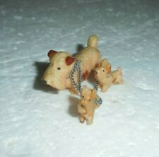 Vintage Miniature Dog Figurines Cairn Terrier w 2 Puppies