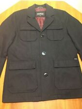 GUESS Men's M Wool Blend Pea coat Jacket Big Button Pockets Black