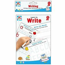 Learn to Write A5 Wipe Clean Worksheets with Pen Educational School Kids Help