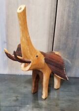 HAND CARVED WOOD ELEPHANT SCULPTURE AFRICAN WOODEN CARVING FIGURE TRUNK UP
