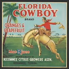 "RARE OLD 1942 COWBOY BUCKING BRONCO ""FLORIDA COWBOY"" LABEL ART KISSIMMEE FLORIDA"