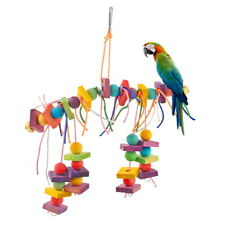 1Pcs Pet Bird Chew Toy Colorfu Wooden Straw with Bell Cage Hanging Accessory Toy