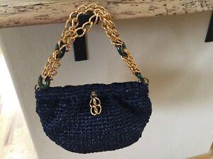 VTG MORRIS MOSKOWITZ Navy Straw Purse/Handbag Triple Chain w/ Jade Handle/Strap