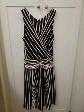 BCBG Maxazria Size M Vertical and Horizontal Striped Black and Beige Dress
