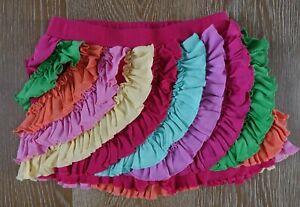 Lemon Loves Lime Girls Colorful Rainbow Ruffle Shorts Size 10 EUC