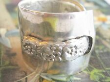 WIDE BOLD FLOWER VINTAGE RING ONEIDA STERLING OVER BRASS SPOON SILVER WARE RING