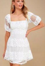 NWT Free People Be Your Baby White Lace Mini Dress Sz Medium M Babydoll