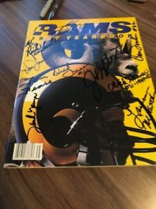 1987 Rams Yearbook Autograph 10 Players Tom Fears Tank Younger Don Towler