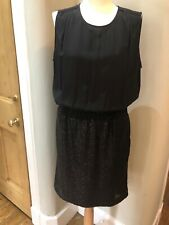 The White Company Black Sequenced Silk Dress  Size 14