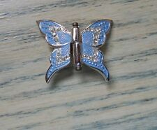BUTTERFLY Clip BROOCH Hair SCARF Made in Germany BLUE Rhinestones