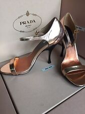 New PRADA Miu Miu Shiny Metallic Rose High Heels Open Toe Size 39 Women Shoes S1