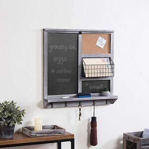 Wall Mounted Gray Wood Chalkboard/Cork Board w/ Mail Basket, Shelf, & Key Hooks