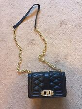NWOT Rebecca Minkoff Mini Love Crossbody Bag Black Quilted Gold Chain MSRP $195