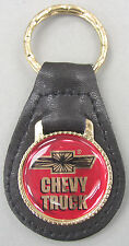 Chevrolet CHEVY TRUCK Black Leather Goldtone Keyring 1980 1981 1982 1983 1984