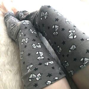 Gray Fox Plush Fleece Leg Warmers Thermal Knee Socks Black Thigh Highs Soft Fur