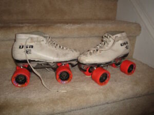Used Vintage USA Sure Gripe Invader 4R White Leather Woman's Roller Skates!!