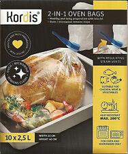 10 sac de cuisson au four et micro-ondes 2.5 litre 25cm x 40 cm 2 in 1 oven bags