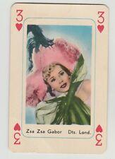 1959 MAPLE LEAF GUM ZSA ZSA GABOR MOVIE FILM STAR 3 OF HEARTS PLAYING CARD