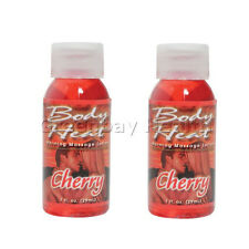 2 Body Heat Cherry Edible Flavored Warming Massage Oil Lotion Lube Lubricant