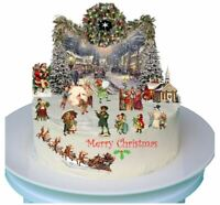 Stand Up Vintage Traditional Victorian Christmas Scene with Edible Wafer Paper