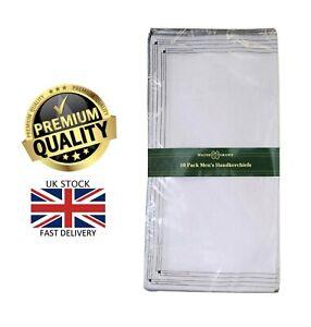 New 10 Pack Men's Walter Grange Stripe White Polycotton Hankies Handkerchiefs