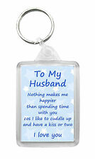 HUSBAND 'I Love You' Keyring Keyfob Valentines Birthday Anniversary Novelty Gift
